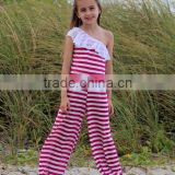 baby onesie Red & White Stripe Asymmetrical Jumpsuit for Toddler & Girls one shoulder young lady cotton romper