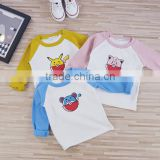 Summer Kids Boys Pokemon Pikachu Cartoon Cute Cotton Tops contract color T Shirt Basic Tee