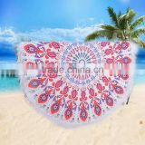 Microfiber beach towel round and square shape mandala tapestry round beach towel with tassels