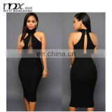 2016 patchwork tuell open breast dress halter dress girls sexy night club wear