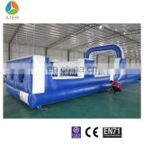 white and blue color giant inflatable obstacle course equipment with slide