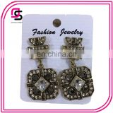 Hot selling jewelry European style ladies designs pictures drop earrings with crystals