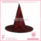 Spider web pattern printed on hats polyester and tulle material made witch hat spider