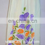 White color Colourful flowers printed cotton skirts from india long skirt 2016 belly dance skirts available in argentina