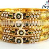 Wholesale indian gold plated bangles-One gram gold bangles jewelry-Bollywood kundan polki bangles -Indian fashion bangle