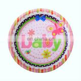 "Fashional 7"" multi-colored round baby paper party supplies plates"