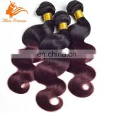 Ombre Human Hair Weft Sewing Machine Two Tone 1BT99J Hair Weaving Closures 3 Bundles Indian Hair Weft