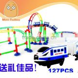Intelligence early education orbit kids roller coaster with battery train and light, 127PCS, 445cm length,Slot Toys, orbit toys