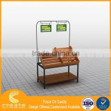 Supermarket fruit and vegetable display stand rack with wooden and metal combination