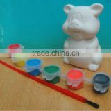 Kids diy ceramic dolomite piggy paint color with brush                                                                         Quality Choice