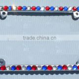 BIG USA Red Blue and Clear Crystal Rhinestone Sparkle Bling License Plate Frame Car Screws and Caps