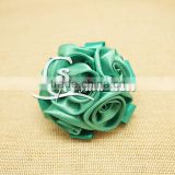 3inch satin fabric bloom rose flower, Artificial burn edge bright cabbage flower, Custom colorful handmade satin ribbon flowers