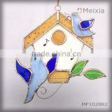 MF102882 tiffany style stained glass blue bird house wall hanging panel for home decoration piece wholesale