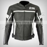 Motorbike Leather Jacket, Motorcycle Clothing, Leather Racing Jacket Black With White Lining