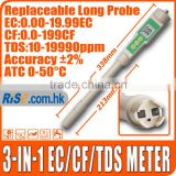 Waterproof Tester with Long Probe 19990 ppm Aquarium 3-in-1 EC CF TDS Meter