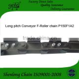Pitch 150mm conveyor roller chain with A2 attachments every link one side. Use for mesh belt conveyor machine
