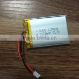 603450 3.7V 1100MAH li-polymer rechargeable battery with pcb and wire and connector smart rechargeable li-polymer battery