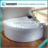 cUPC certified corner whirlpool, air bubble massage round resin tub, big size freestanding bath
