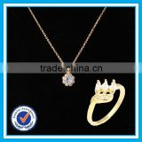 Engagement gold ring necklace set fashion diamond jewelry sets sale