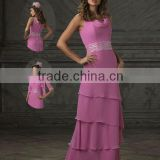 Chiffon Layered Fashionable Bridal Mother Dress Empire Sheath Mother Of Bride Dress With Beaded Sash Suzhou XYY-wy022-7