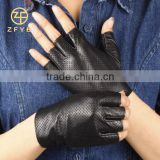 fashion classic design car driving sew fingerless leather gloves for men's with perforated                                                                         Quality Choice