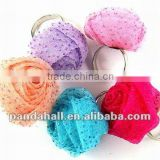 Alloy Cotton Wax Costume Large Flower Rings(RJEW-R034)