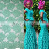 2016 guangzhou mint green net lace with pearls embroidery tulle lace fabric for african parties