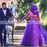(MY2649) MARRY YOU High Neck Long sleeve Lace Appliqued Bridal Gown Colorful Muslim Wedding Dress 2015                                                                         Quality Choice