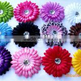 New Style !! 4 inch Various colors Gerbera Daisy Flower Clips with Acrylic diamond for hair/clothes decoration