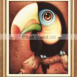 low price small size partly round mosaic stone drilled main artwork woodpecker bird design painting