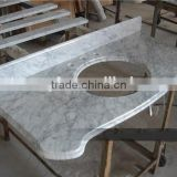 25years factory wholesaling price white carrera cultured marble vanity tops
