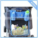 Convenient Polyester Oxford Clothing Patchworking With Mesh Hanging Bag Baby Stroller Organizer