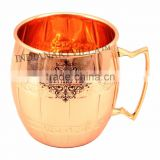 IndianArtVilla Pure Copper Round Mug Moscow Mule Cup 500 ML - Serving Beer Wine Cocktail - Beer Bar Home Hotel Restaurant Tablew