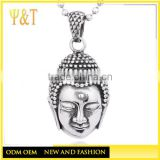 Hot selling china factory buddha pendants nekclaces, casting chinese lucky carved gold buddha head necklaces pendants (HS-083)