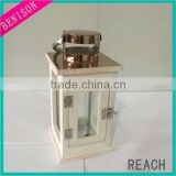 Spring Wooden hanging candle lantern with stainless steel top for garden decoration