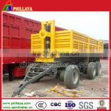 Heavy duty European type single or two axle platform full trailers mini truck transport cargo box drawbar trailer