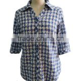 Check Plaid with Flower Print Soft Point Collar and Box Pleated Back Yoke Button Down Cotton Ladies Shirt Blouse Top