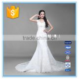 Fashion V Neck Tulle White Handmade Beaded Embroidery China Custom Made Alibaba Wedding Dress