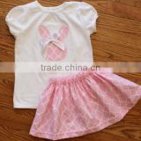 Factory wholesale girls fashion short skirts set Girl summer pink embroidered rabbit small skirt set baby clothes organic