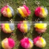 Gold key chain blending imitation fox fur ball phone key chain pendant wholesale supply car ornaments