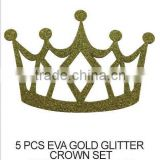 CRAFT FOR KID (S487) 5 PCS EVA GOLD GLITTER CROWN SET