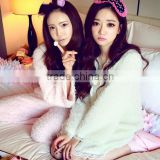 Custom cheap pink green women sleepwear suit top quality flannel fleece custom pajamas