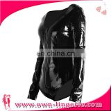 2017 new black faux leather bodysuit long sleeve leather costume