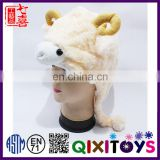 Professional customized unique design high quality funny plush animal hats kids fur hat wholesale
