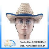 2015 cheap wholesale roll brim hollow straw cowboy hat from chinese