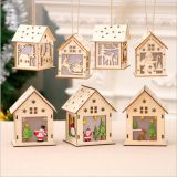 Wooden Christmas house hanging decoration with LED light