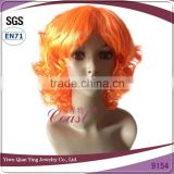 womens cheap nice orange short curly synthetic party wigs