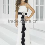 Hot Sale White Chiffon Straps Kids Dresses For Weddings With Black Sash