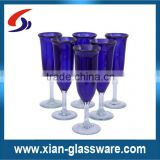 Promotional wholesale high quality colored champagne glass with clear stem/short stem champagne flutes
