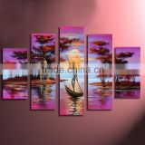 Hot seller wall art beautiful scenery multi-panel abstract african landscape oil painting on canvas